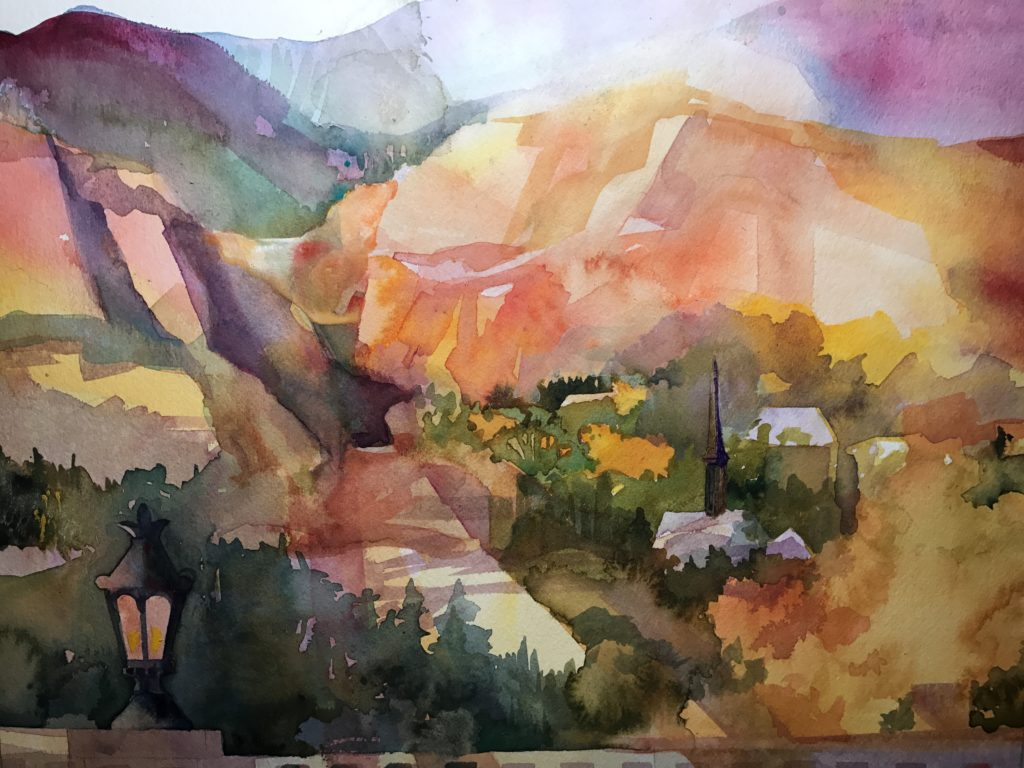 "Sunrise at the Broadmoor / 15"" x 20"""